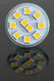 LED light bulb lit from above Stock Photo