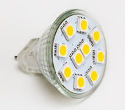 LED light bulb lit from above Stock Images
