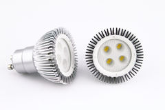 LED light bulbs. Over white background stock images