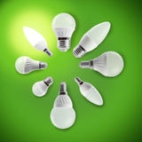 LED light bulbs in a circle with a glowing bulb royalty free stock photography