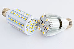 LED light bulbs compare with different SMD chips Royalty Free Stock Images