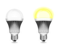 LED light bulbs on and off isolated on white Royalty Free Illustration