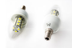 LED Light Bulbs Two. Close-up of two LED light bulbs against a white background royalty free stock image