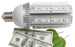 Led light and dollars. The concept of energy saving Royalty Free Stock Photo