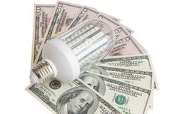 Led light and dollars. On white background Stock Image