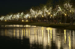 Led light near river in holiday Royalty Free Stock Photos