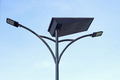 LED light post with solar cell panel Stock Photos