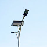 LED light post with solar cell panel Stock Images