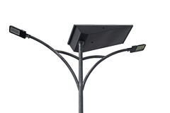 LED light post with solar cell panel Stock Image