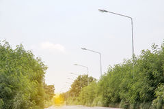 LED light post with solar cell panel used on the street,industri Stock Photos
