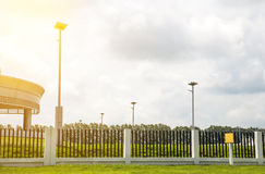 LED light post with solar cell panel used on the street,industri Royalty Free Stock Images