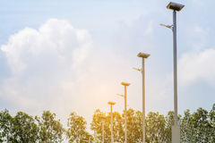 LED light post with solar cell panel used on the street,industri Stock Photography