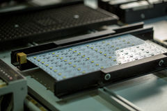 LED light production. Image of circuit board Stock Photo