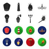 LED light, street lamp, match.Light source set collection icons in black,flet style vector symbol stock illustration web. LED light, street lamp, match.Light Royalty Free Stock Photography