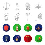 LED light, street lamp, match.Light source set collection icons in outline,flet style vector symbol stock illustration.  Stock Photography