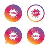 Led light sun icon. Energy symbol. Gradient buttons with flat icon. Speech bubble sign. Vector Royalty Free Stock Images