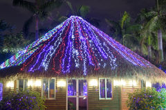 Led light thatched house Royalty Free Stock Photo