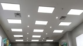 Led panel lamp on modern office ceiling