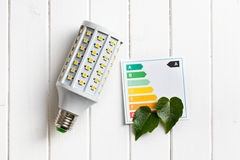 LED lightbulb with energy label Royalty Free Stock Image