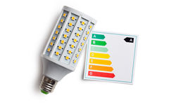 LED lightbulb with energy label Stock Images