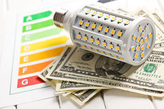 LED lightbulb with energy label and us dollars Stock Images