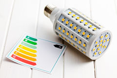 LED lightbulb with energy label Royalty Free Stock Images