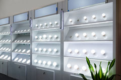 Led lighting shop lamp bulb shelf Stock Image
