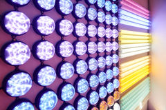 Led lighting bulbs. Colorful led lighting bulbs on a lighting shop wall,China,Asia royalty free stock photos