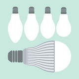 Led lighting and conventional lamps Stock Images