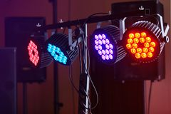 LED forstage professional lighting device colored. Led lights for disco. LED lighting equipment, LED forstage professional lighting device colored. Led lights royalty free stock photography