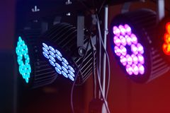 LED forstage professional lighting device colored. Led lights for disco. LED lighting equipment, LED forstage professional lighting device colored. Led lights royalty free stock image