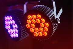 LED forstage professional lighting device colored. Led lights for disco. LED lighting equipment, LED forstage professional lighting device colored. Led lights stock images