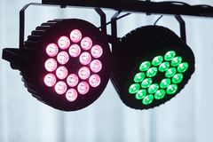 LED forstage professional lighting device colored. Led lights for disco. LED lighting equipment, LED forstage professional lighting device colored. Led lights stock image