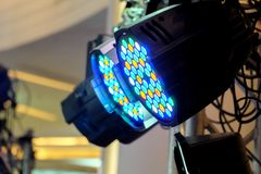 LED lighting equipment. LED PAR stage professional lighting device colored Stock Image
