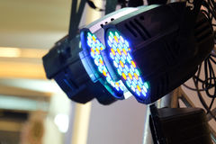 LED lighting equipment. LED PAR stage professional lighting device colored Royalty Free Stock Image