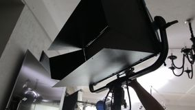 LED Lighting Film Set. Panel professional video production tools light set equipment cinema studio behind the scene stock video