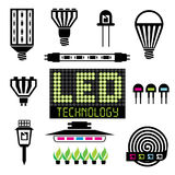 LED lighting icons Royalty Free Stock Photos