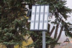 LED lighting a lantern on a pole Royalty Free Stock Image