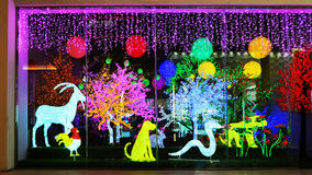 Led lighting shop window at night Stock Images