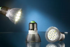 Led lights with blue background Stock Photo