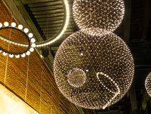 LED lights design for decoration. Round shape design of LED light hanging from ceiling stock images