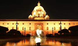 LED lights lighting up the Rashtrapati Bhavan in New Delhi,India. Rashtrapati Bhavan is the official home of the president of stock photos
