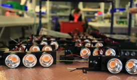 LED lights in manufacturing Stock Images