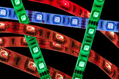 Led lights strip rgb. Close up Stock Photo