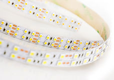 Led lights strip on white background. Stock Photos