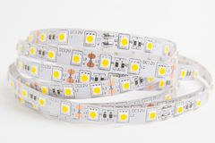 LED ligts strip for decoration of interiors. LED tape on white background stock photos