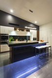 LED lit modern kitchen Stock Image