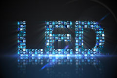 Led made of digital screens in blue Stock Photos