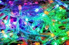 LED X'mas Lights. Tangled group of multicolored LED X'mas lights Royalty Free Stock Image