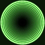 LED mirror abstract round background. Green blazing lights fading to the center. Vector illustration Stock Image